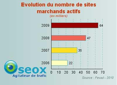 Nombre de boutiques ecommerce en France