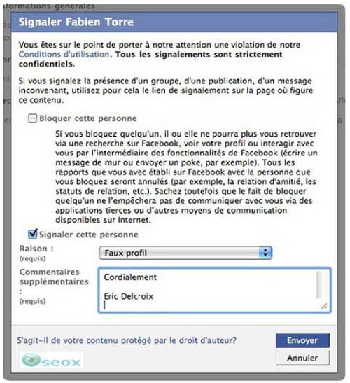 Captures d'écran lors de la dénonciation d'un faux profil Facebook<