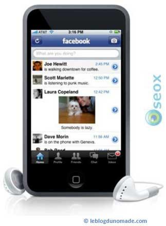 Réseau social Facebook sur Iphone