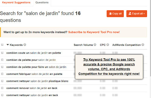 keyword tool questions