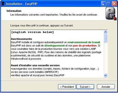 Information avant installation d'EasyPHP