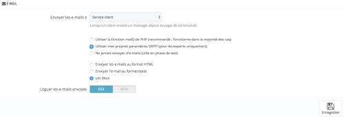 configuration SMTP sous prestashop