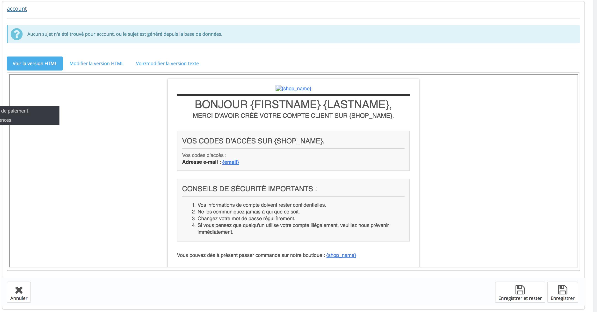 modification html des emails