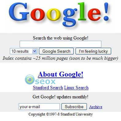 Capture d'écran de Google en 1998