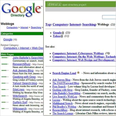 PageRank sur Google et sur l'ODP
